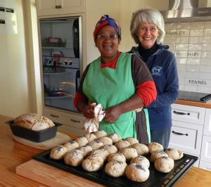 Maria and Yvonne baking bread